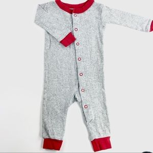 Red & grey footless one piece